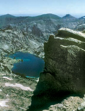 Looking from the Eagle Cap summit down on Glacier Lake. Photo by William Sullivan