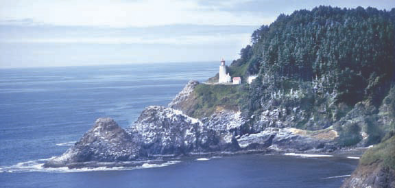 Heceta Head Lighthouse is seen across Devil's Elbow Cove