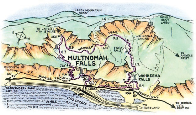 Multnomah Falls Oregoncom - Oregon waterfalls map
