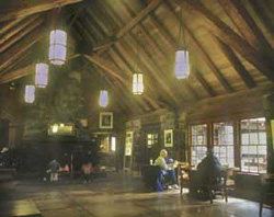 Looking inside Silver Falls Lodge, built in 1940