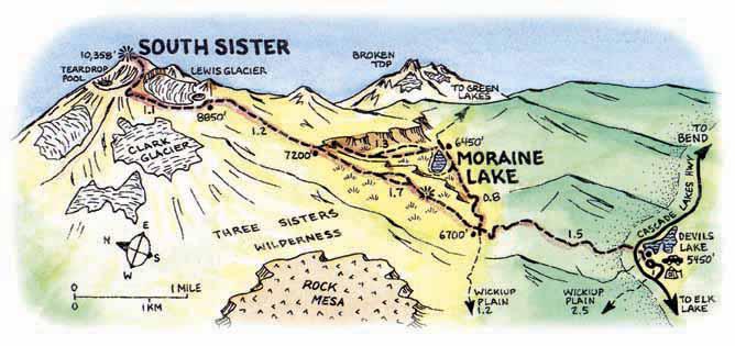 Hike South Sister Oregoncom - Map of south oregon