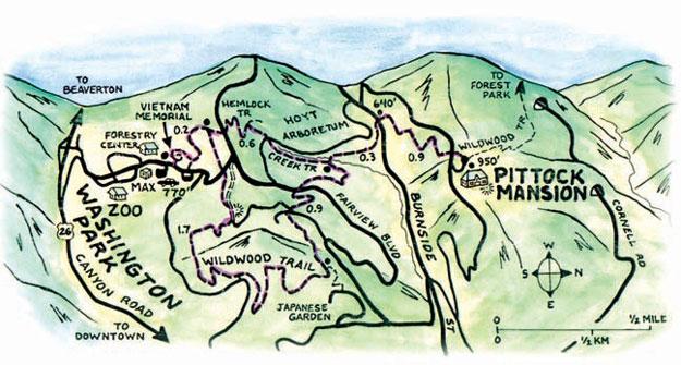 Washington Park Oregoncom - Oregon hiking trails map